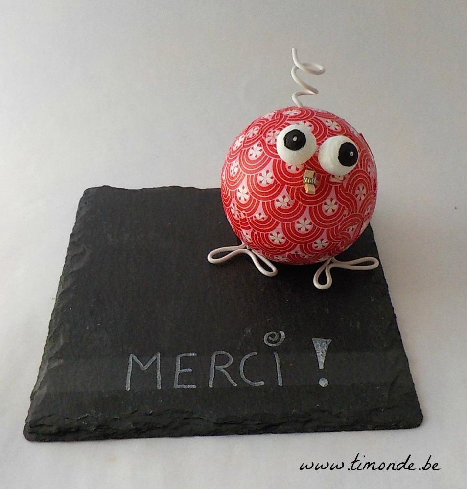 """8€ - Piou-piou rouge """"Merci"""""""